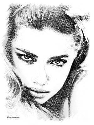 # 13 Adriana Lima Portrait. Print by Alan Armstrong