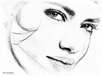 Digital Photograph - # 14 Adriana Lima Portrait by Alan Armstrong