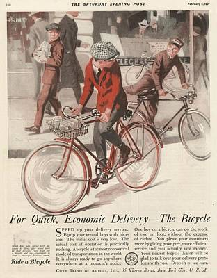 Bike Drawing -  1920s Usa  Bicycles Bikes Cycling by The Advertising Archives