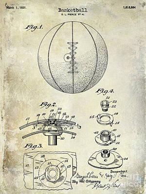 1927 Basketball Patent Drawing Print by Jon Neidert