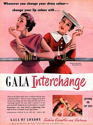 Nineteen-fifties Drawing -  1950s Uk Gala Of London Lipsticks by The Advertising Archives