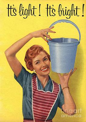 1950s Uk Housewife Housewives Buckets Print by The Advertising Archives
