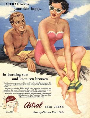 Nineteen-fifties Drawing -  1950s Uk Sun Creams Lotions Tan by The Advertising Archives