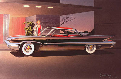 Idea Drawing -  1960 Desoto Classic Styling Design Concept Rendering Sketch by John Samsen