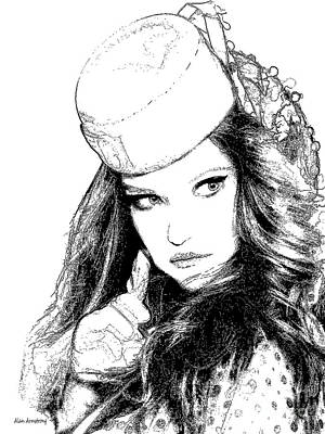 # 2 Adriana Lima Portrait Print by Alan Armstrong