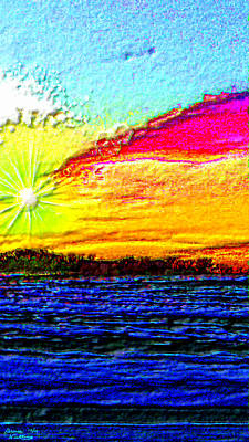 Sunrise Painting -  3-d Sunset On The Beach by Bruce Nutting