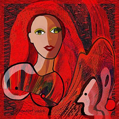 Digi-art Digital Art -  434 - Lady In Red   by Irmgard Schoendorf Welch