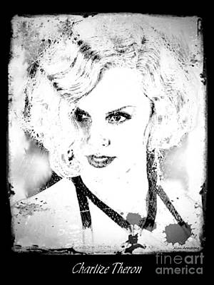 Digital Photograph - # 7 Charlize Theron Portrait by Alan Armstrong