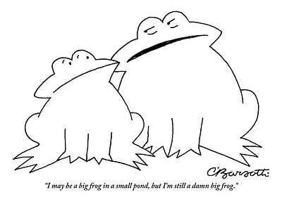 Frog Drawing -  A Big Frog Talks To A Smaller Frog by Charles Barsotti
