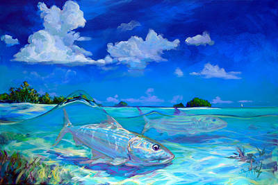 Flyfishing Painting -  A Place I'd Rather Be - Caribbean Bonefish Fly Fishing Painting by Savlen Art