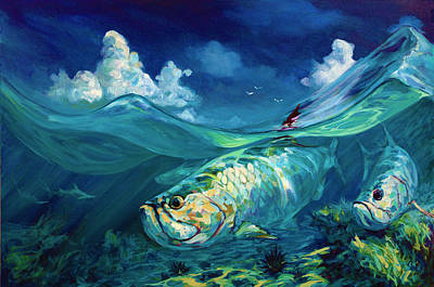 Flyfishing Painting -  A Place I'd Rather Be - Caribbean Tarpon Fish Fly Fishing Painting by Savlen Art