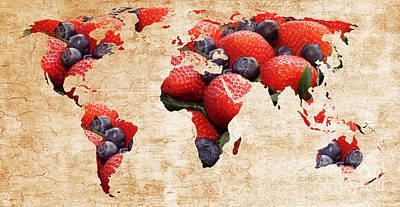 Blueberries Photograph -  Abstract World Map - Berries And Cream - Tan by Andee Design