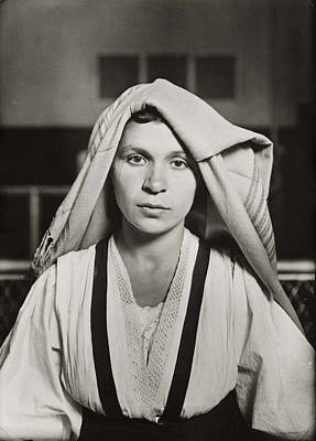 Young Painting -  Albanian Woman Ellis Island by  Lewis Hine