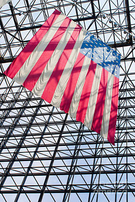 American Flag Hanging In The Atrium Of The John F Kennedy Library In Boston Massachusetts II Print by Thomas Marchessault