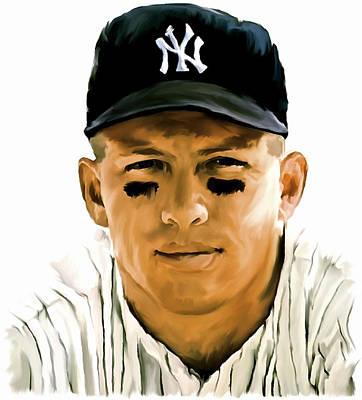 Mickey Mantle Painting -  American Icon Mickey Mantle by Iconic Images Art Gallery David Pucciarelli