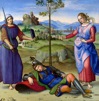 Vision Painting - An Allegory Vision Of A Knight by Raphael