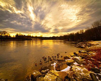 Androscoggin River Between Lewiston And Auburn Print by Bob Orsillo