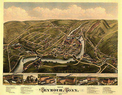 Antique Lithograph And Map Of Seymour Connecticut 1879 Print by Mountain Dreams