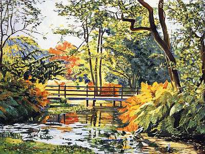 Tree Traditional Art Painting -  Autumn Water Bridge by David Lloyd Glover