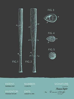Softball Drawing -  Baseball Bat Patent From 1939 - Gray Blue by Aged Pixel