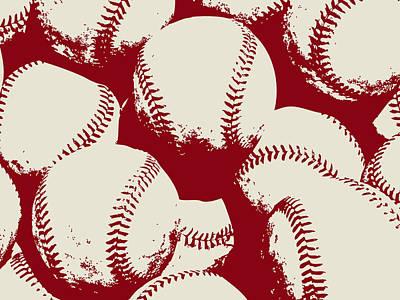 Sports Digital Art -  Baseball Pop Art Red by Flo Karp