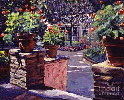 Red Geranium Painting -  Bel-air Gardens by David Lloyd Glover