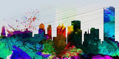 Panoramic Painting -  Buffalo City Skyline by Naxart Studio