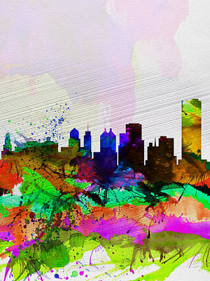 Buffalo Digital Art -  Buffalo Watercolor Skyline by Naxart Studio