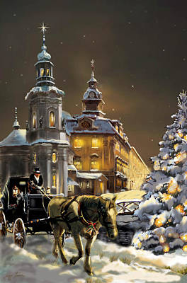Buggy Painting -  Buggy And Horse At Christmasn The Ukraine by Regina Femrite
