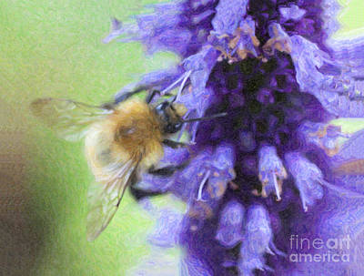 Bumblebee Digital Art -  Bumblebee On Buddleja by Liz Leyden