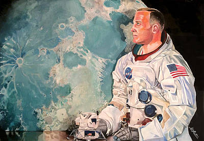 Painting -  Buzz Aldrin by Michael  Pattison