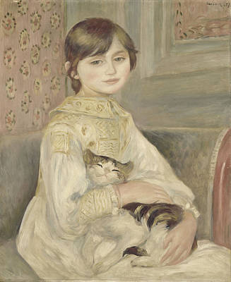Pierre-auguste Renoir Painting - Child With Cat. Julie Manet by Pierre-Auguste Renoir