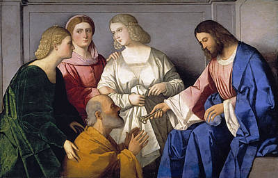 Vincenzo Catena Painting - Christ Hands Over The Keys To Saint Peter by Vincenzo Catena