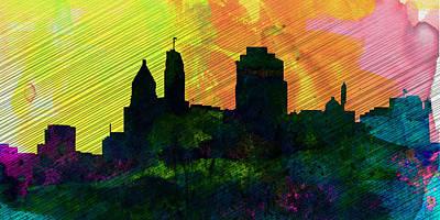 Architectural Painting -  Cincinnati City Skyline by Naxart Studio