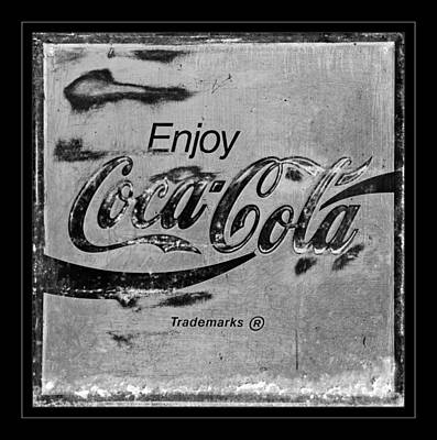 Coca-cola Sign Photograph -  Coca Cola Sign Black And White by John Stephens