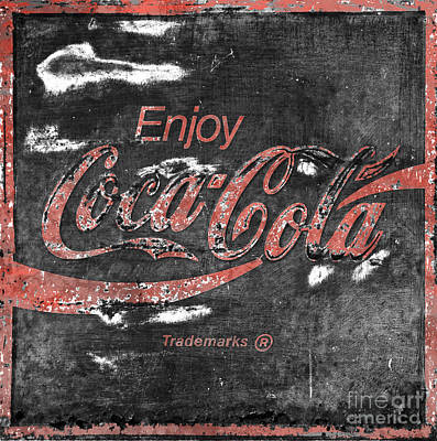 Coca Cola Sign Faded Grunge Print by John Stephens