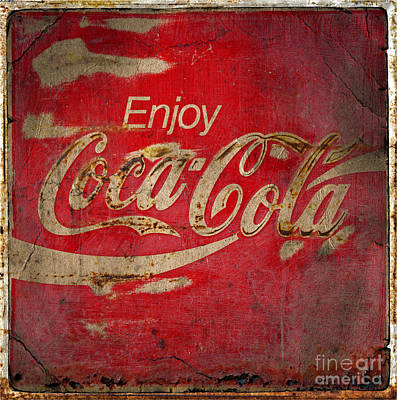 Weathered Coca Cola Sign Photograph -  Coca Cola Sign Grungy  by John Stephens