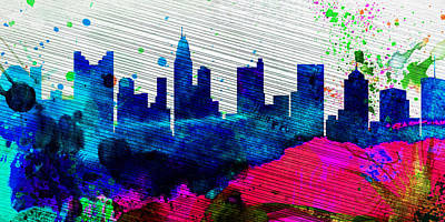 Architectural Painting -  Columbus City Skyline by Naxart Studio