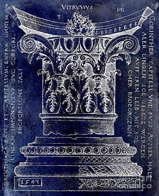 Corinthian Column Blue Print by Jon Neidert