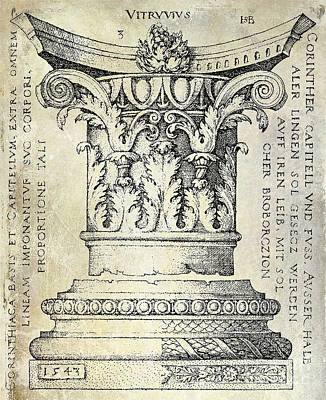 Corinthians Drawing -  Corinthian Column by Jon Neidert