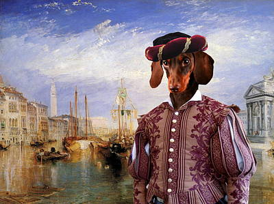 Hotdogs Painting -  Dachshund Art Canvas Print - The Grand Canal Venice by Sandra Sij