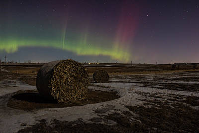 Hay Bale Photograph -  Dakota Aurora by Aaron J Groen