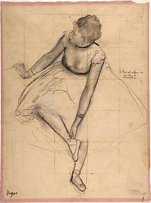 Dancer Adjusting Her Slipper Print by Edgar Degas
