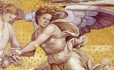 Detail Of The Elect In Paradise Print by Luca Signorelli