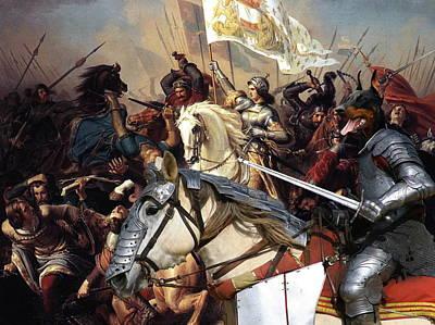 Doberman Art Painting -  Doberman Pinscher Art Canvas Print - Battle Of  Jeanne D Arc by Sandra Sij