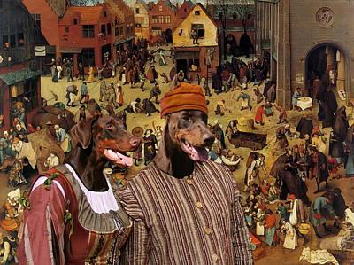 Doberman Art Painting -  Doberman Pinscher Art Canvas Print - The Combat Of Carnival  by Sandra Sij