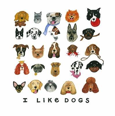 Dogs Twenty Five Breeds Print by Barbara Esposito
