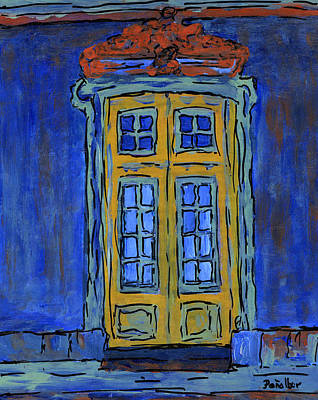 Door On Blue  Print by Oscar Penalber