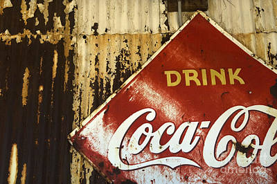 Coca Cola Sign Photograph -  Drink Coca Cola  Memorbelia by Bob Christopher