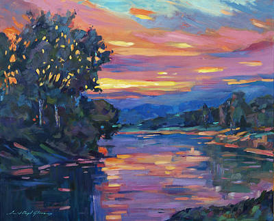 Dusk River Print by David Lloyd Glover